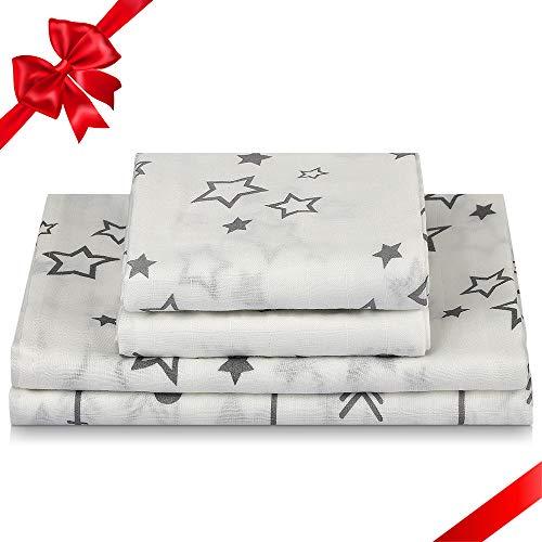 Baby Wickeldecke Bambus Musselin Tuch Swaddle & Burp Blanket Spucktücher Mulltücher Wickeldeckel, 120x120cm, 73x73cm Seidenweich Leichte Baby Swaddle Wickel Deck Blankets, Geschenk für Babys, 4Pack