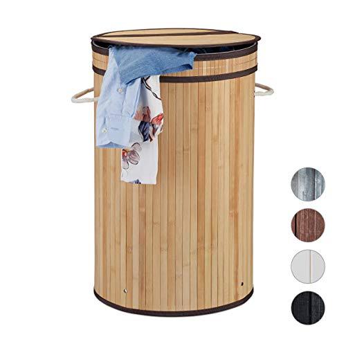 Relaxdays Wäschekorb Bambus, runder Wäschesammler mit Klappdeckel, 65 l, faltbare Wäschetonne, rund Ø 40 cm, natur