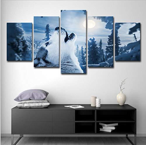 Tantoto Leinwandmalerei Wandkunst 5 Stück Heulende Malerei des Waldtieres Schneewolf verziert Wohnzimmerwandkünstler Haus-A_M = 40/60/80 * 30 cm