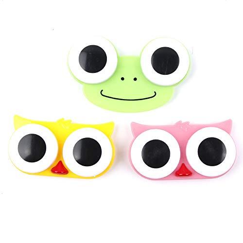 Huamao 3D Big Eyes Kontaktlinsen Kasten-Spielraum-Soak Lagerung Schöne Nette süße Karikatur-Fall-Eulen-Frosch-Tierform-Kontaktlinse-Kasten 3pcs