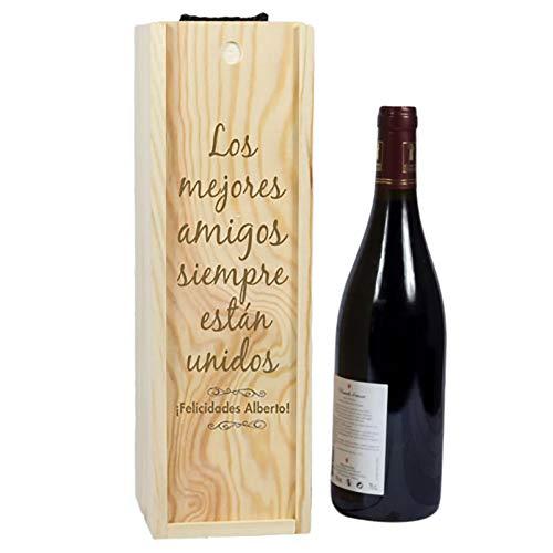 Calledelregalo Regalo Personalizable: Caja para Botella de Vino grabada con el Texto Que tú Quieras