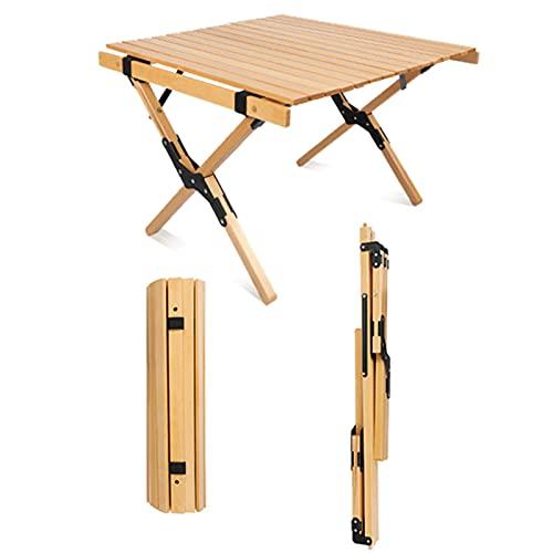 JSMY Mesa Plegable de Madera de Haya,mesas de Picnic con tableros enrollables,lo...