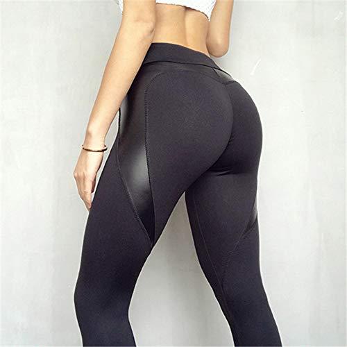 Ayujia Leggings Leggings Booty A Cuore Nero Pu Patchwork Pantaloni Lunghi Skinny Women Push Up Allenamento Leggings Sportivi Athleisure