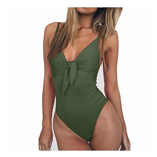 Moktasp Knot Bodysuit High Cut Bikini Plus Size Swimwear Women Push up Swimsuit Solid v-Neck Bathing Suit Beach wear Green
