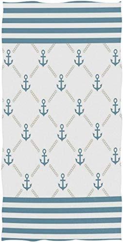 Patrón simétrico de Cadena de Marco de Rayas de Ancla Azul náutico con Estampado Personalizado Toalla de Cara Toalla Suave Absorbente para el hogar Cocina Baño Toalla para Invitados