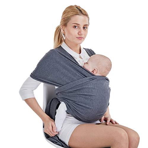 Fular Portabebés Elástico Portador de Bebé Pañuelo de algodón Para padres Unisex (Gris )