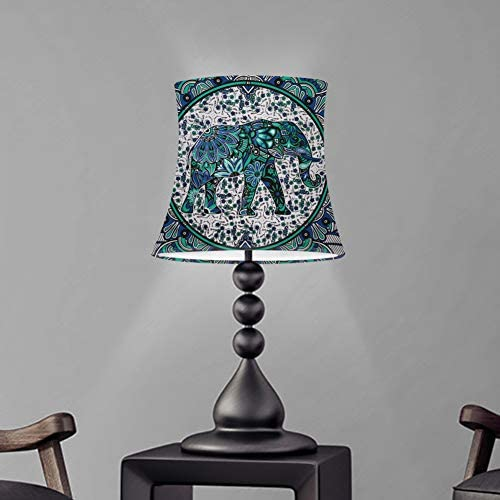 WELLFLYHOM Green Elephant Lamp Shade Large for Table Lamp and Floor Light Boho Hippie Floral product image