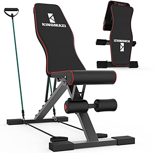 KINGMAZI Adjustable Weight Bench, Exercise Workout Bench for Full Body Workout- Multi-Purpose Foldable Bench, Folding Dumbbells Bench with Elastic Ropes, 400lbs Capacity