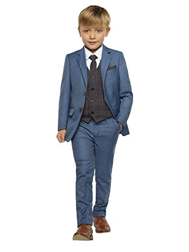 Paisley of London Chambrey-Anzug für Jungen, Hochzeitsanzug für Jungen, Grau karierte Weste, 1–13 Jahre Gr. 8 Jahre, Chambrey Blau mit grauer Weste