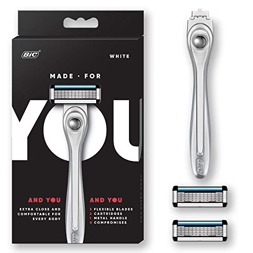 Made For YOU by BIC Shaving Razor Blades for Every Body - Men & Women, with 2 Cartridge Refills - 5-Blade Razors for a Smooth Close Shave, WHITE, Kit