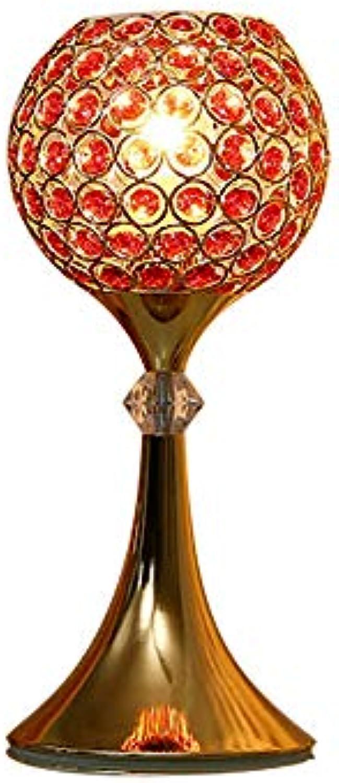 J.SUNUN Tischlampe, Schlafzimmer nachttischlampe kristall tischlampe Hochzeit rote Moderne kreative Luxus dimmende Fernbedienung Touch Lampe (Farbe   rot Touch)