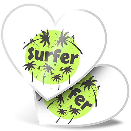 2 x Heart Stickers 10 cm - Green Surf Palm Tree Surfer Fun Decals for Laptops,Tablets,Luggage,Scrap Booking,Fridges #8226