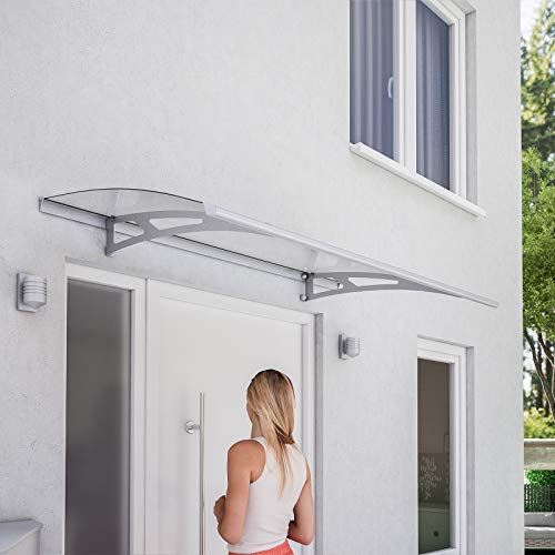 Schulte Vordach Überdachung Haustürvordach 160x90cm Polycarbonat klar Edelstahl matt Pultbogenvordach