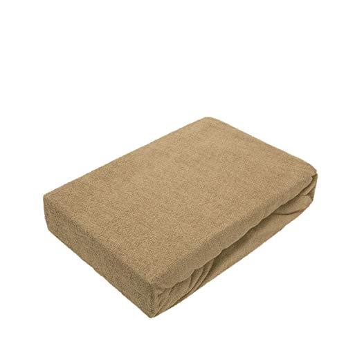 EXKLUSIV HEIMTEXTIL Frottee Spannbettlaken Premium Marke 140-160 x 200 cm Sand