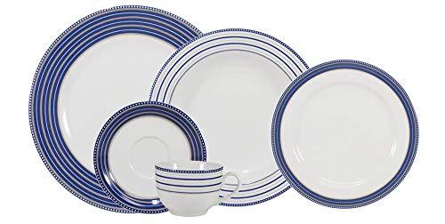Serviço de Jantar e Chá 30 peças em Porcelana. Modelo Redondo Voyage. Decoração Paula. Fabricado pela Schmidt.