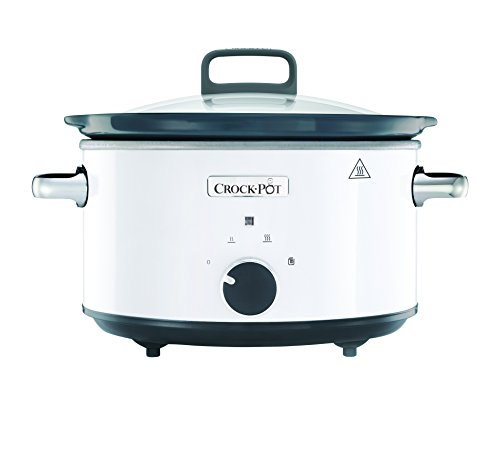 Crock-Pot CSC030X weißer Schongarer - Das Original aus den USA | Slow Cooker 3.5 L | Warmhaltefunktion | mit Rezeptheft | Spülmaschinenfester Topf und Deckel | Weiß