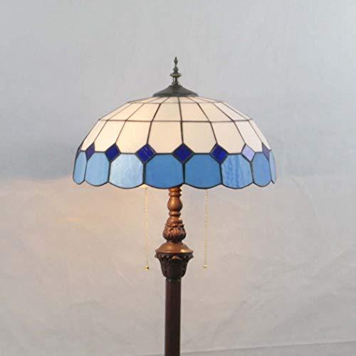 DSHBB vloerverlichting, 16 inch mediterrane Tiffany vloerlamp met glazen lampbescherming, modern standing Light voor Living Rooms & Bedrooms, E27 * 2 40W