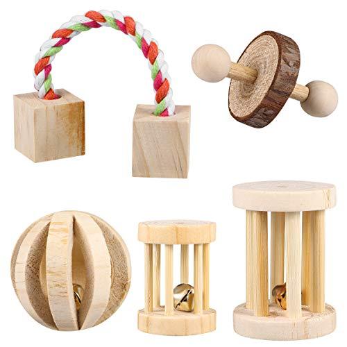 POPETPOP 5 Stück Hamster Kauspielzeug Natürliche Holz Kauen Spielzeug Übung Spielen Bell Roller Zahnpflege Molar Spielzeug für Hamster Hase Kaninchen Ratten Rennmäuse und andere kleine Tiere