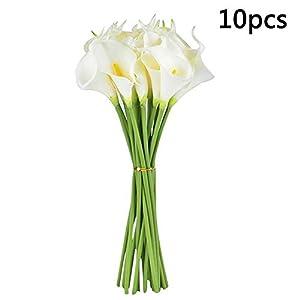Surreh Ramos de flores artificiales de lirio de agua, sensación natural, 10 unidades, para decoración de boda, hogar…