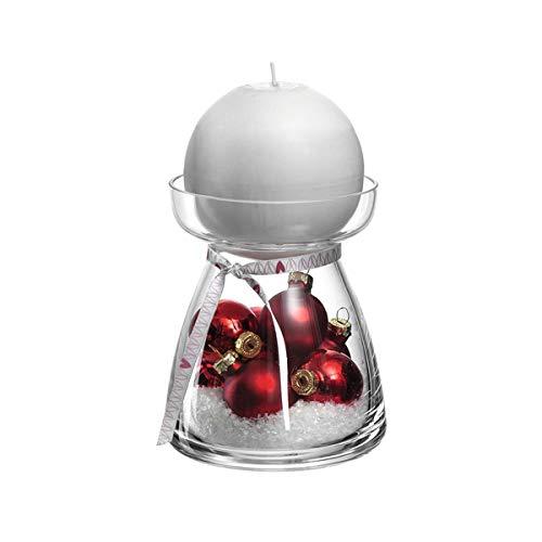 LEONARDO - Vivo - GK - Kerzenleuchter/Kerzenhalter - Glas - Klar/Rot - Ø 9,8cm - Set: Leuchter + Kerze + Deko