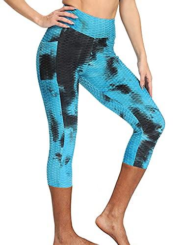 Glosun Pantalones de yoga de cintura alta con bolsillos 4 vías estiramiento yoga polainas control de barriga polainas primavera verano deportes pantalones