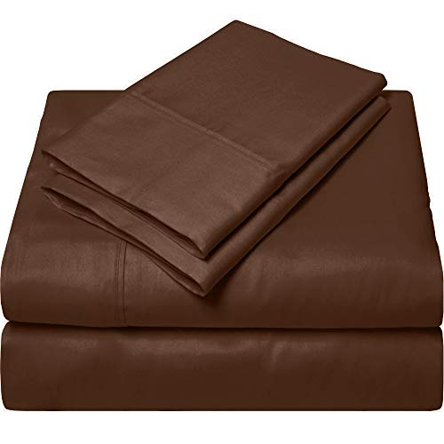 King Size Egyptian Cotton Sheets Luxury Soft 1000 Thread Count- Sheet Set for King Mattress Chocolate Solid