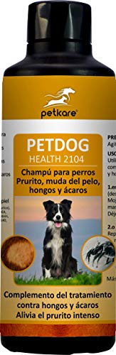 Peticare Perro Bio Champu contra Picor, Anti-Pulgas y Anti-Acaros - Tratamiento para Anti-Parasitos y Repelente, Detiene Picores Fuerte, Shampoo 100% Organico - petDog Protect 2104 (250 ml)