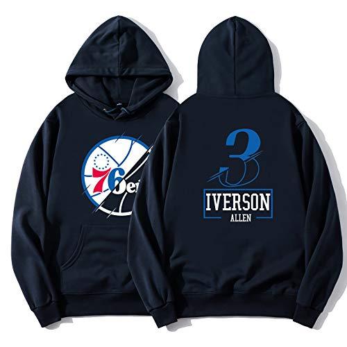 Allen Iverson No.3 Reciente Sudadera con Capucha, Philadelphia 76ers Hombres Camiseta de...