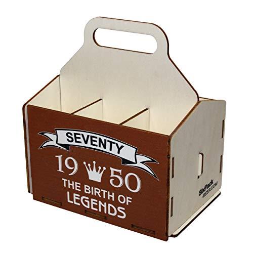 Unbekannt Bierdeckel aus Holz, 6er Pack, 6er Pack, 60er Geburtstag, 70er Geburtstag Geschenke, Geburtstag 70, 6er Pack Bierträger, Bier Trug, Geschenke für Männer