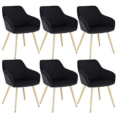 WOLTU 6 x Esszimmerstühle 6er Set Esszimmerstuhl Küchenstuhl Polsterstuhl Design Stuhl mit Armlehne, mit Sitzfläche aus Samt, Gestell aus Metall, Gold Beine, Schwarz, BH232sz-6