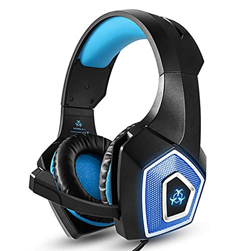 GBHN Gaming Headphones, Gaming Headphones for PS4 Xbox One Laptop PC Gaming Headset with 3.5mm Surround Sound with Respiratory Lights and Adjustable Microphone-Blue