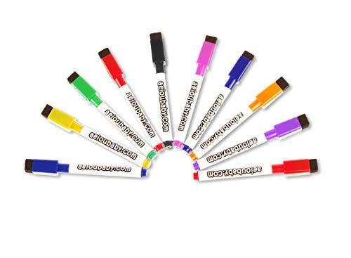 aeioubaby.com 10 Rotuladores Magnéticos para Pizarra Blanca con Borrador Incorporado | Especial borrado en seco | Set Colores Variados | Pack Ideal para el Hogar, Escuela y Oficina