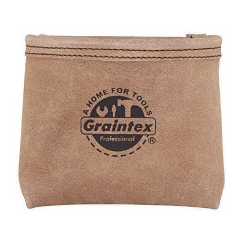 Graintex SS2190 Nail Pouch with Clip Beige Color Suede Leather for Constructors, Electricians, Plumbers, Handyman