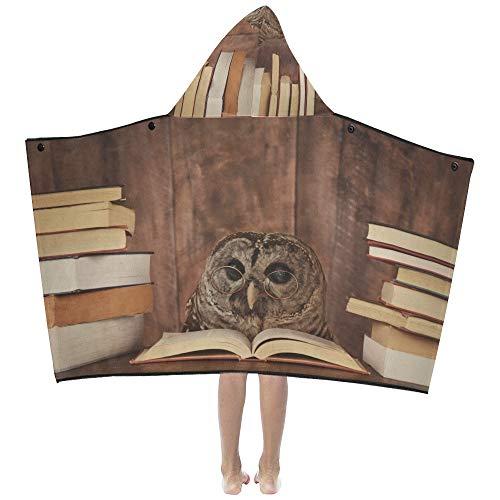 Naps Throw Blanket N Owl Animal con gafas está leyendo un libro en los niños Manta con capucha Toallas de baño Manta para niños pequeños Niño Niña Niño Viaje en casa Dormir Niños Manta con capucha