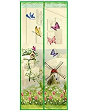 happyhouse009 Cortina magnética para jardín con diseño de mariposas, antiinsectos con mosca, manos libres, pantalla magnética de verano, para ventana, puerta, 100 x 210 cm, color verde
