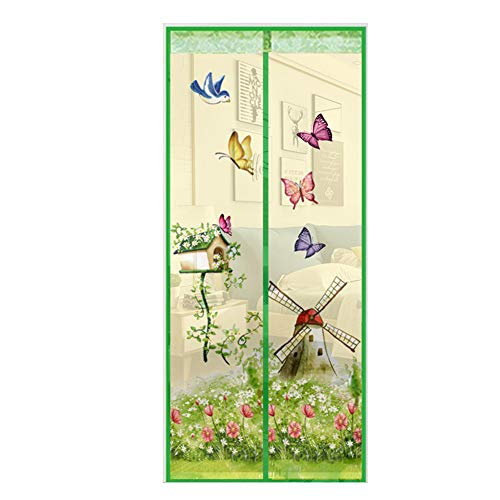 happyhouse009 Schmetterling Windmühle Garten Magnet Sichtschutz Tür Anti Fliegen Insekt Hände frei Sommer Magnet Fenster Tür Fliegenvorhang, Polyester, grün, 100*210cm