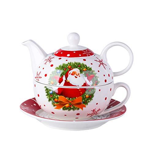 Veweet Serie SANTACLAUS Kaffeeservice, Kaffeekanne aus Porzellan, 3-teilig Teekanne mit Tasse und Untertasse