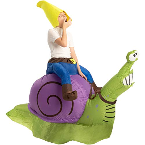 Spooktacular Creations Inflatable Halloween Costume Gnome Ride A Snail Ride On Inflatable Costume - Child Unisex (7-10 yr)