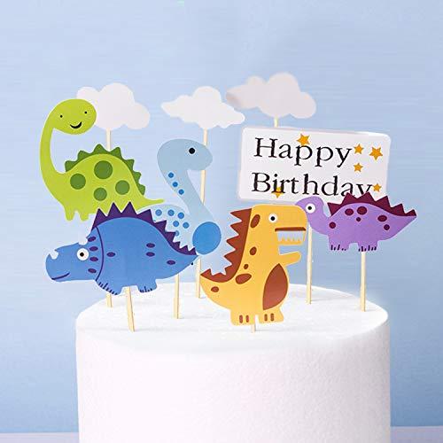Simon Lee Woodham 9 Piezas Torta de Dinosaurio, Cute Cake Toppers, Decoración de Pastel de Dinosaurio, Cupcake Decoration for Kids Birthday Party