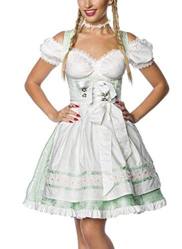 Unbekannt Dirndl Kleid Kostüm mit Schürze Minidirndl mit Blumenborteen Brokat und ausgestelltem Rockteil Oktoberfest Dirndl mintgrün XXXL