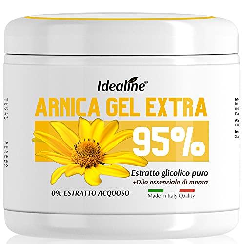 Arnica per Cavalli uso Umano 95{1553649dab3eaccf902538273c78867511041d7f2acd7c4fb6389812bfda6bf6} EXTRA CONCENTRATO COMPATTO 500ML Arnica Gel Forte Non Acquoso per Sport e Traumi + Olio Essenziale di Menta Idealine