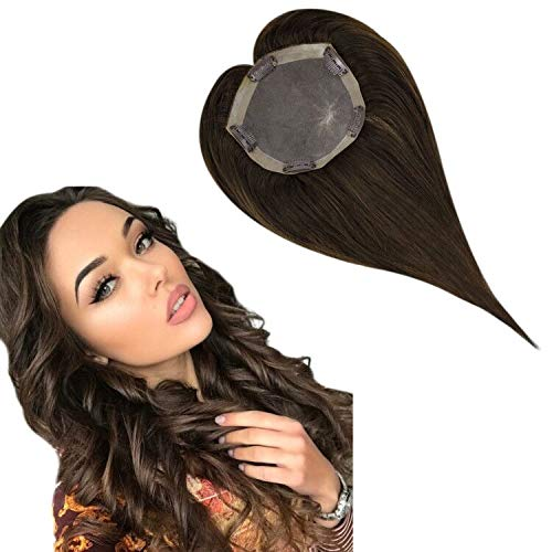 Hetto 14 Inch Remy Hair Toppers for African American Women 130% Density Topper Hair Extension Clip in Hair Toppers Top Hairpieces for Thinning Hair Gray Hair/Hair Loss #4 Dark Brown Size 5x5Inch
