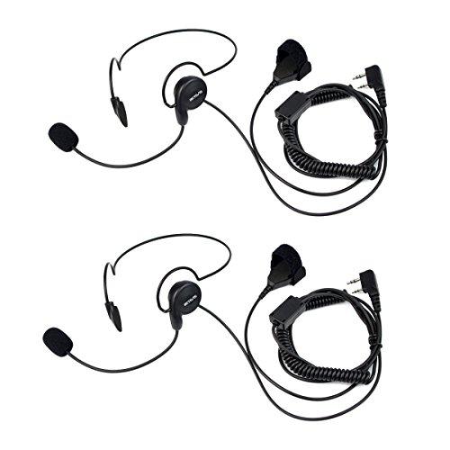 Retevis Funkgerät Headset mit Mikrofon Finger PTT 2 Pin Kopfhörer Kompatibel mit Retevis RT24 RT22 RT27 RT21 RT28 RT617 BF-88E BF-888S Kenwood TK-3401D Tyhbelle Walkie Talkies(2 Stk.)