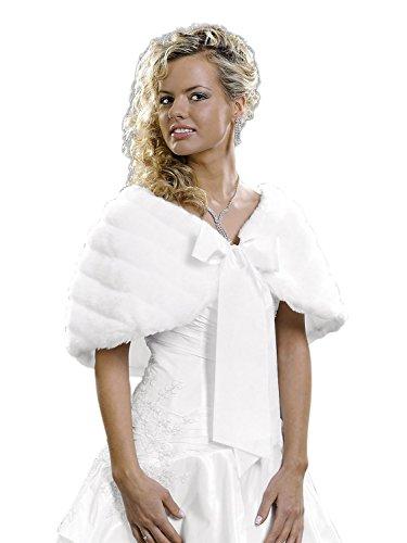 tb-artdesign Brautjacke Fell Kunstpelz Fellstola Jacke Stola Umhang Winter Bolero Hochzeit Creme Ivory