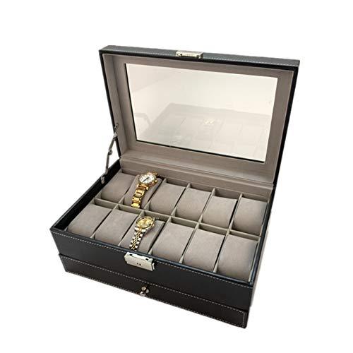 Keliour Caja de almacenamiento de reloj Caja de reloj 12 cajas de joyería doble anillo pendientes gafas de sol caja de embalaje de cuero PU caja de reloj (color: negro, tamaño: talla única)