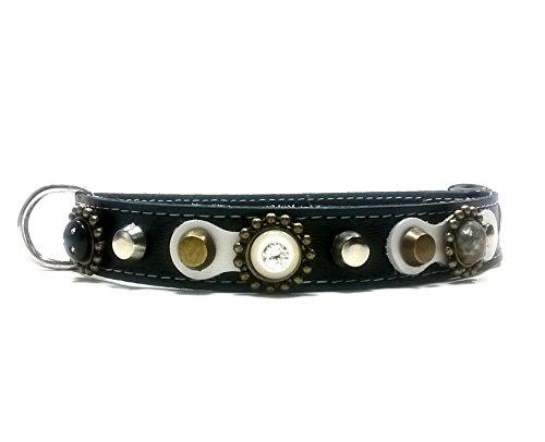 Superpipapo Hunde-Halsband, Handmade Schwarz Leder für Kleine und Mittelgroße Hunde, Luxus in Schwarz Weiß Leder mit Glitzer Swarovski Steinen, 40 cm S: Halsumfang 30-35 cm, Breit 15mm