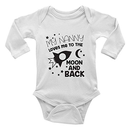 My Nanny Loves me to The Moon and Back Cute Long Bodysuit Girl boy Infant Toddler Baby Clothes Creeper White