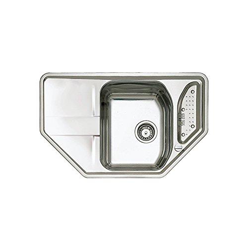 Teka STENA 45 E-CN Edelstahl Küchenspüle Spültisch Spülbecken Einbauspüle 1 Becken und Abtropffläche poliert, Silber