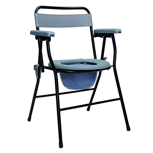 GLLMY Folding Commode Chair Safety and Sturdy Steel Shower Chair Anti-Slip Ferrules for Elderly Disabled or Handicapped
