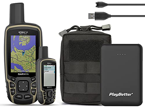 Garmin GPSMAP 65 Hiking GPS Tactical Bundle | with PlayBetter Tactical Pouch, Portable Charger, GPS Tether Lanyard | TOPO Maps, GNSS Support | Rugged GPS Handheld